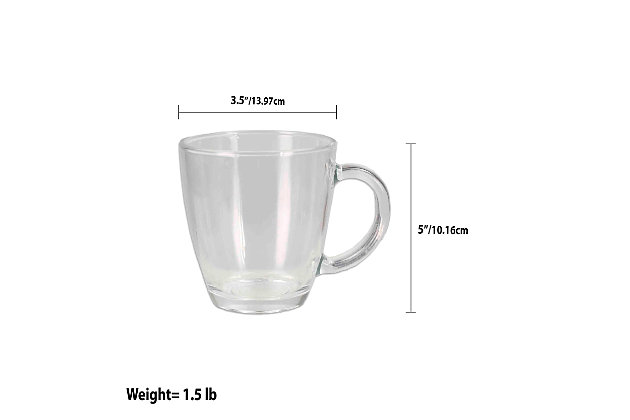 Home Accents Tapered Glass Mug with Thick Handle, Clear, , large