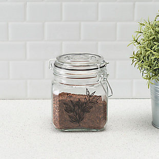 Home Accents Ludlow 23 oz. Canister with Metal Clasp, Clear, , rollover