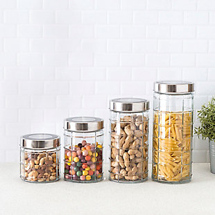 Home Accents Chex 4 Piece Glass Canister Set with Stainless Steel Lids, Clear, , rollover