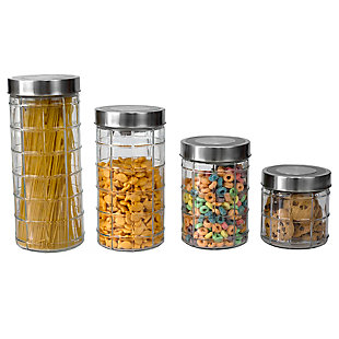 Home Accents Chex 4 Piece Glass Canister Set with Stainless Steel Lids, Clear, , large