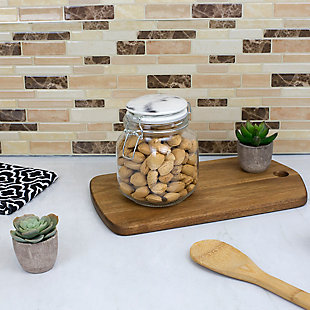 Home Accents 50 Oz. Glass Canister with Marble Printed Ceramic Top, Chrome, Chrome, rollover