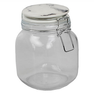 Home Accents 50 Oz. Glass Canister with Marble Printed Ceramic Top, Chrome, Chrome, large