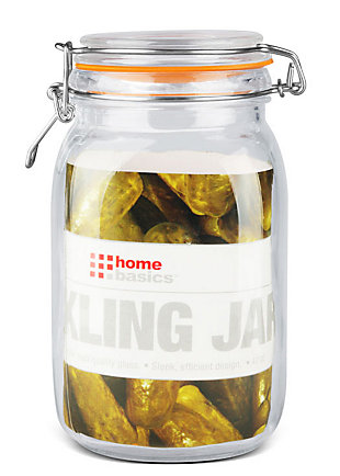 Home Accents 47 oz. Glass Pickling Jar with Wire Bail Lid and Rubber Seal Gasket, Orange, large
