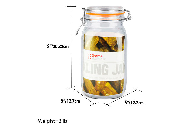 Home Accents 47 oz. Glass Pickling Jar with Wire Bail Lid and Rubber Seal Gasket, , large