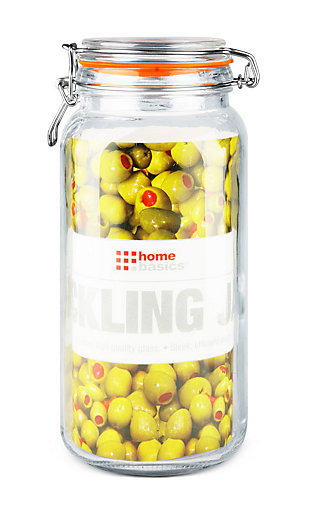 Home Accents 67.5 oz. Glass Pickling Jar with Wire Bail Lid and Rubber Seal Gasket, , large