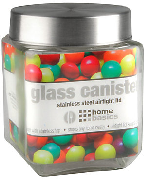 Home Accents 56 oz. Square Glass Canister with Brushed Stainless Steel Screw-on Lid Clear, Clear, large