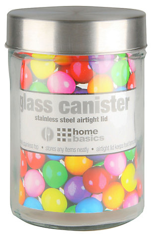 Home Accents Large 54 oz. Round Glass Canister with Air-Tight Stainless Steel Twist Top Lid, Clear, Clear, large
