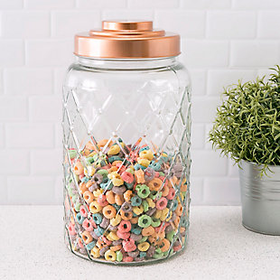 Home Accents Medium Textured Glass Jar with Gleaming Air-Tight Copper Top, Clear, rollover