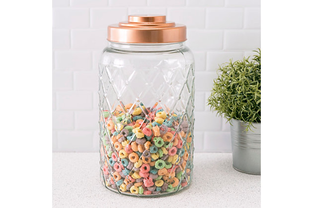 Home Accents Medium Textured Glass Jar with Gleaming Air-Tight Copper Top, Clear, large