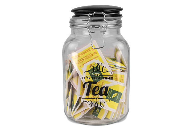 Home Accents Glass Jar with Ceramic Flip Lid Top, , large