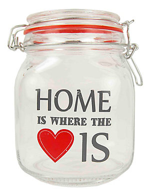 Home Accents Home is Where the Heart Is 51 oz. Glass Jar, Clear, large