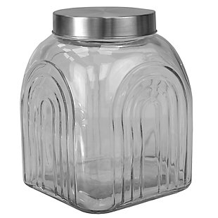 Home Accents Heritage 3.5 LT Glass Jar with Silver Lid, , large