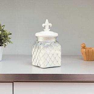 Home Accents 108 oz. Glass Jar with Ceramic Fleur De Lis Top, White, White, rollover