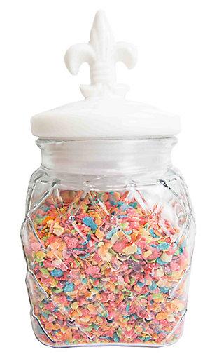 Home Accents 108 oz. Glass Jar with Ceramic Fleur De Lis Top, White, White, large