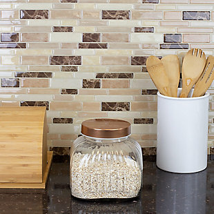Home Accents Medium Glass Jar with Brushed Copper Steel Air-Tight Lid, Copper, rollover