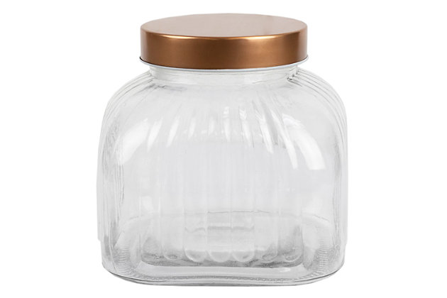 Home Accents Medium Glass Jar with Brushed Copper Steel Air-Tight Lid, Copper, large