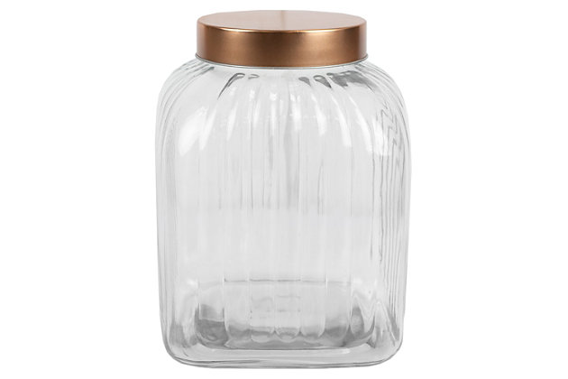 Home Accents Large Glass Jar with Brushed Copper Steel Air-Tight Lid, Clear, large