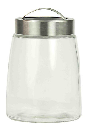 Home Accents 44 oz. Glass Jar with Brushed Stainless Steel Handle and Air-tight Lid, , large