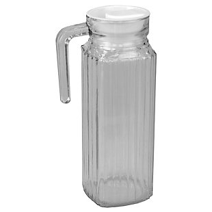 Home Accents Embellished Glass 1 Lt Decorative Beverage Pitcher with No-Mess Pouring Spout and Solid Grip Handle, Clear, , large
