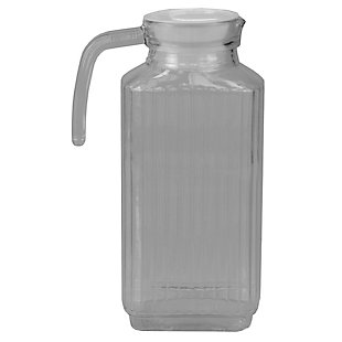 Home Accents Embellished Glass 1.8 Lt Decorative Beverage Pitcher with No-Mess Pouring Spout and Solid Grip Handle, Clear, , large