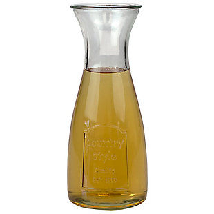 Home Accents Country Time 33.8 oz Glass Beverage Carafe Decanter, Clear, , large