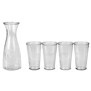 Home Accents 5 Piece Embossed Rooster Glass Beverage Carafe Decanter Set, Clear, , large