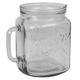 Home Accents 67.7 oz Glass Mason Jar Pitcher with Measurement Markings and Easy Grip Handle, Clear, , large