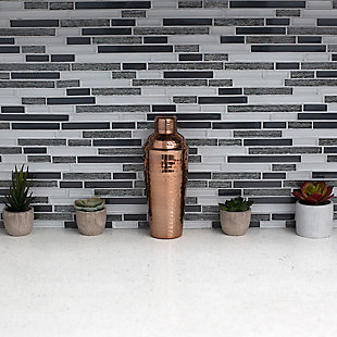 Home Accents 750 ml Hammered Steel Cocktail Shaker, Copper, , rollover