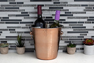 Home Accents Hammered Steel Ice and Beverage Storage Bucket with Ring Handles, Copper, , rollover