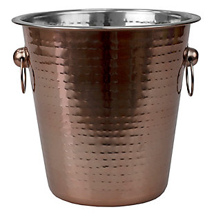 Home Accents Hammered Steel Ice and Beverage Storage Bucket with Ring Handles, Copper, , large