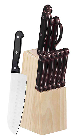 Home Accents 13 Piece Knife Set with Block in Black, , large