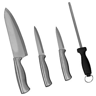 Home Accents Stainless Steel Knife Set with Sharpener, Gray, , large