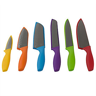 Home Accents 6 Stainless Steel Knife Set with Colorful Slip Covers, , large