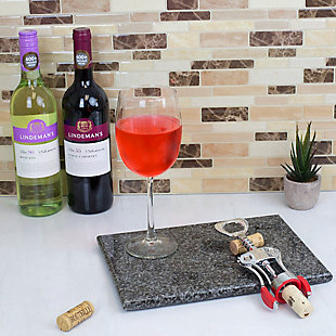 Home Accents Winged Zinc Plated Steel Cork Screw Wine Opener with Rubberized Grips, Red, , rollover