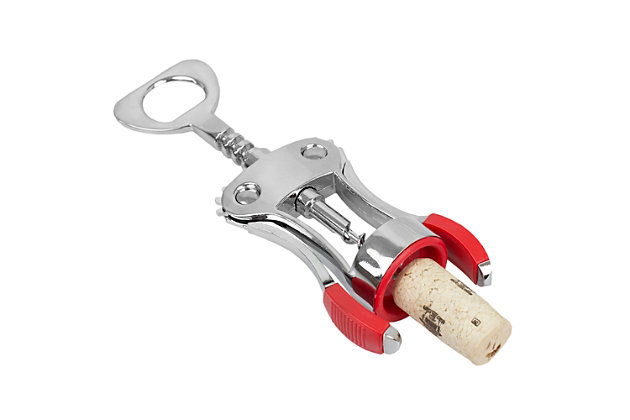 Home Accents Winged Zinc Plated Steel Cork Screw Wine Opener with Rubberized Grips, Red, , large