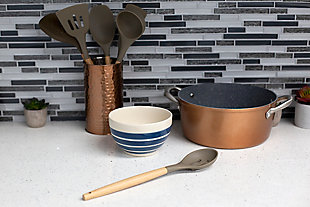 Home Accents Karina High-Heat Resistance Non-Stick Safe Silicone Slotted Spoon with Easy Grip Beech Wood Handle, Gray, , rollover