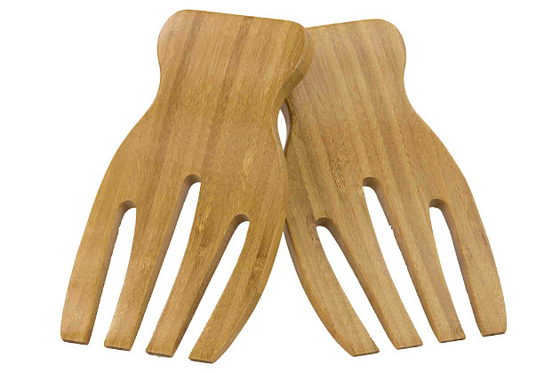 Home Accents 2-Piece Natural Bamboo Salad Servers, , large