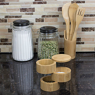 Home Accents 3 Tier Natural Bamboo Salt Box, , rollover