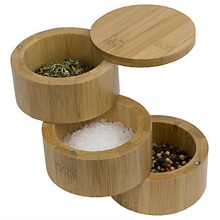 Home Accents 3 Tier Natural Bamboo Salt Box, , large