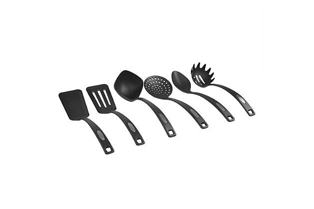Home Accents 6-Piece Nylon Serving Utensils with Curved Handles, , large