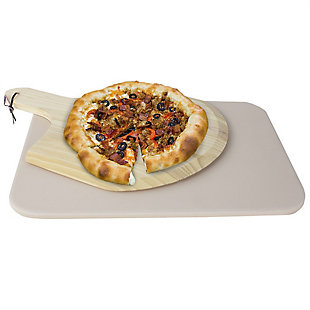 Home Accents White Ceramic Pizza Stone with Wood Paddle, , large