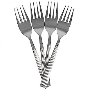 Home Accents Eternity Mirror Finish 4 Piece Stainless Steel Salad Fork Set, Silver, , large