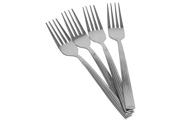 Home Accents  4-Piece Stainless Steel Dinner Fork Set With Eternity Mirror Finish, , large