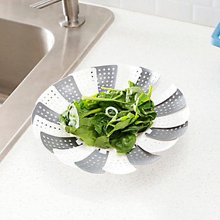 Home Accents Grey Plastic Vegetable Steamer, , rollover
