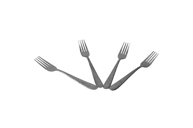 Home Accents Hammered Stainless Steel Dinner Forks, (Pack of 4), Silver, , large
