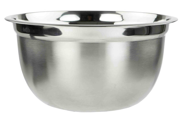 Home Accents 3QT. Stainless Steel Beveled Anti-Skid Mixing Bowl, Silver, large
