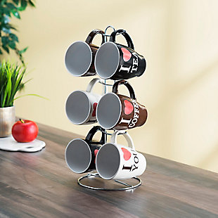 Home Accents I Love Coffee 6-Piece Mug Set with Stand, , rollover