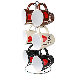 Home Accents I Love Coffee 6-Piece Mug Set with Stand, , large
