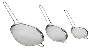 Home Accents  3-Piece Mesh Stainless Steel Strainer Set, , large