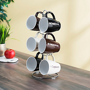 Home Accents Cappuccino 6-Piece Mug Set with Stand, , rollover